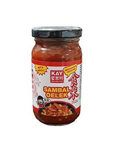 KAY LI Sambal Oelek 3er Pack, 3 x 200 g, Chilipaste aus frisch gemahlenen Chilischoten (86%)