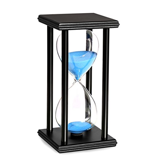 BOJIN 20 Minute Hourglass Wooden Black Stand Hourglass Sand Timer Clock for Office kitchen Decor Home, Blue Sand