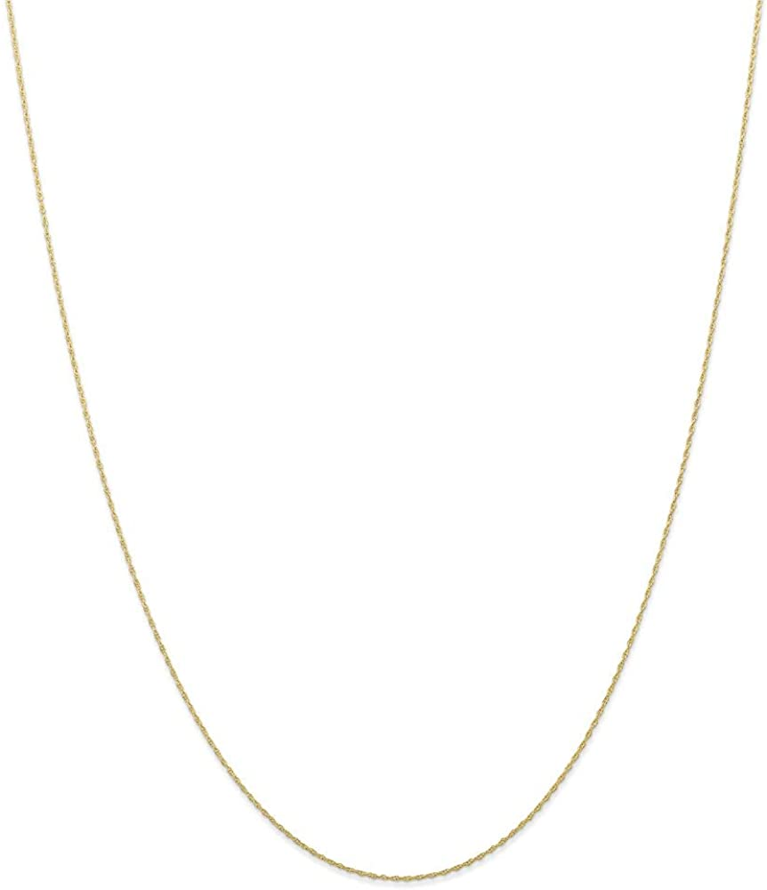 10k Yellow Gold .5mm Cable Link Rope Chain Necklace 16 Inch Pendant Charm Carded Fine Jewelry For Women Gifts For Her