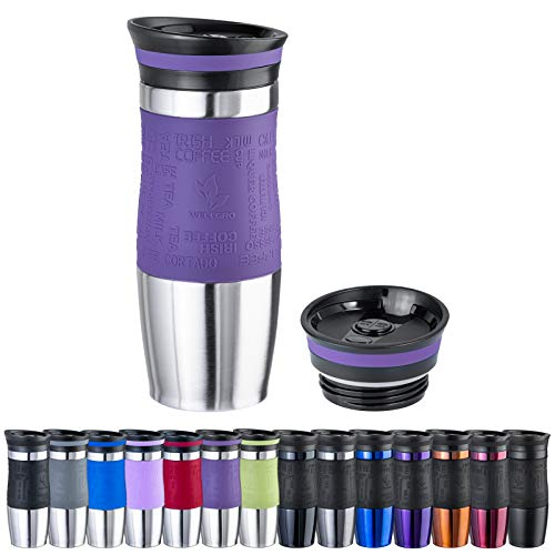 WELLGRO Thermobecher 400 ml + 1 Extradeckel - Edelstahl rostfrei - Silikon Soft-Touch Griffstück - BPA-frei - Isolierbecher doppelwandig - Travel Mug - Kaffeebecher to go, Farbe:Lila
