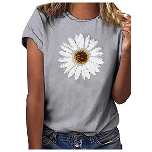 VEMOW Camisetas Mujeres Tallas Grandes Bandera Americana Gato Imprimir Camisa de Manga Corta Blusa(WB Gris,M)