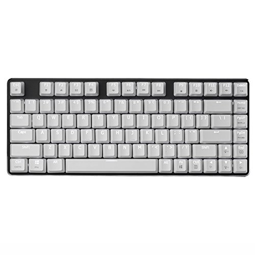 Mechanical Gaming Keyboard White Backlight Cherry MX Brown Switch 82-Keys(80%) Wired Mini Design Keyboard-Case White Plate Black by Qisan