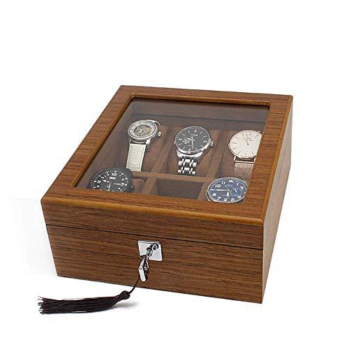 CLJ-LJ Caja para relojes con cerradura y tapa de cristal, 6 ranuras, color marrón, para hombres y mujeres (color: marrón, tamaño: 20 x 22,5 x 9,6 cm) (color: marrón, tamaño: 20 x 22,5 x 9,6 cm)