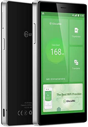GlocalMe G4 Pro 【公式販売】 (black・黒) モバイル WiFi ルーター SIMフリー 1.0GB分のグローバルデータパック付き ポケットWiFi 140を越える国や地域に対応 3900mAh モバイルバッテリー 軽量・薄型・大画面