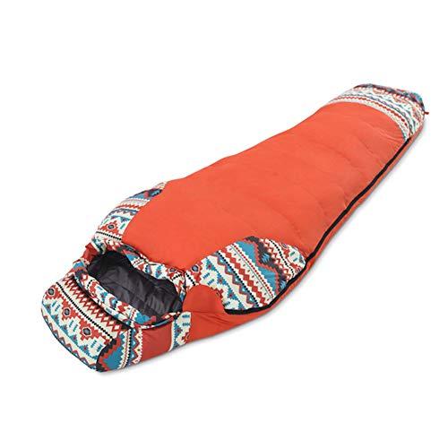 Xbnmw Sac de Couchage Momie imperméable, Sacs Momie légers et Ultra-compacts pour Hommes et Femmes,Orange