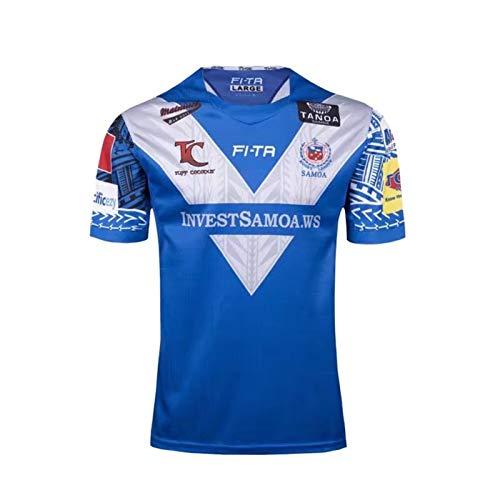 Samoa-Champion Edition Rugby-Jersey, Rugby-Weltcup-Baumwoll-Jersey-Grafik-T-Shirt Von Herren, Rugby-Kurzarm-Pro-Jersey, Ideal Für Freizeit Und Sport Blue-XXXL