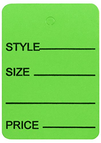 Amram Price Tags 1.25-in x 1.875-in Unstrung, Green, Printed Style; Size; Price, 1,000 Tags