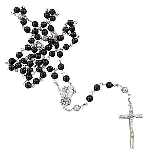 Zinngeschenke Rosenkranz mit 59 Perlen gefertigt aus echtem Onyx gläzende Perlen zur Taufe, Kommunion Geburt Länge 49 cm