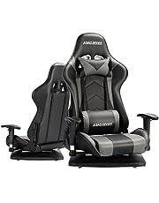 AMGseven ゲーミングチェア 座椅子 ゲーミング座椅子 360°回転座面 175度リクライニング 2D可動肘 ヘッドレスト ランバーサポート付き ハイバック PUレザー ゲームチェア AMG-YZ01