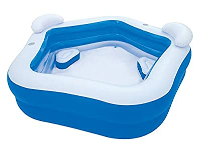 Inflatable Pool with 2 Seats,Headrest Cup Holder Family Paddling Pool Swimming Pool Bath Tub for Kids Toddlers Adults