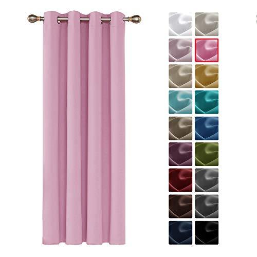 Deconovo Cortinas Dormitorio Moderno Suaves para Ventanas de Habitación Juvenil 1 Pieza de Color Liso con Ojales 132 x 160 cm Rosa