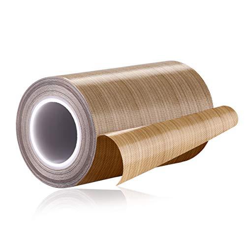 PTFE Coated Fiberglass Teflon Tape Welding Sealing Tape -196℃ - +300℃ (100mm x 12yards x 0.18mm, Brown 3)