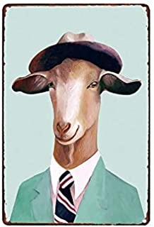scsafsvvcv Vintage Custom Metal Signs 12 x 16 - Animal Serie Goat Chic Art Wall Decort Home Yard Signs Bar Hotel Cafe Pub restauran Comic
