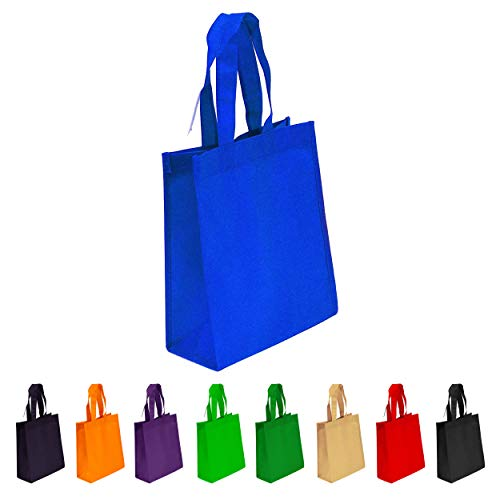 10 Pack Royal Blue Reusable Tote Bags, Heavy Duty Non-woven Polypropylene, Small Gift Tote Bag, Book Bag, Non Woven Bag Multipurpose Art Craft Screen Print School Bag (Royal Blue, Set of 10)