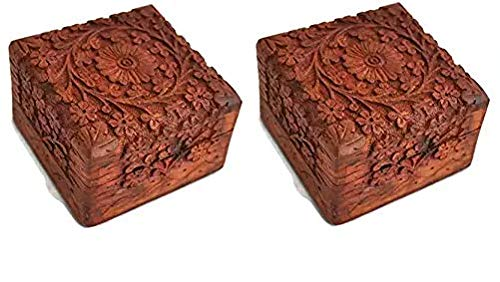 Artncraft Jewelry Box Novelty Item Unique Artisan Traditional Hand Carved Rosewood Jewelry Box from India Inside (Pack 2)