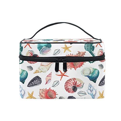 Aquarell-Kosmetiktasche zum Aufhängen von Kulturbeutel, Seestern-Muschel, tragbar, große Kapazität, Reisetasche, Make-up-Koffer, Aufbewahrungstasche für Mädchen und Frauen im Freien