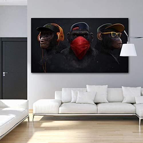 MENG Frameless painting Art gorilla monkey chimpanzee headphone animal picture canvas painting mural home decorationZGQ5423 60X100cm,Size:60X100cm,Colour:D Background wall painting