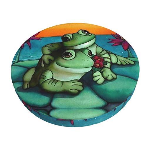 COOL-SHOW Frog Lover Pareja Taburete Cojín Cojín Cojín Cojín Redondo Chile Acolchado Antideslizante 33 cm
