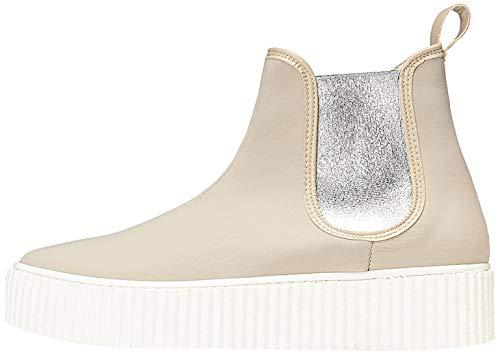 find. Plateauschuhe Damen mit Chelsea Boots-Design, Beige (Beige/White), 39 EU