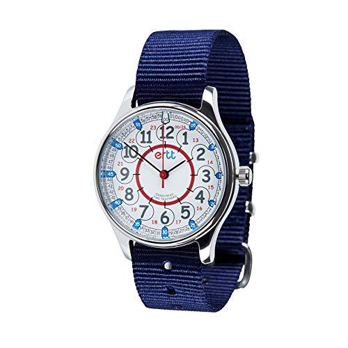 EasyRead Time Teacher WERW-RB-24-NB Armbanduhr mit rot-blauem Zifferblatt, 24 Stunden wasserdicht, Marineblau
