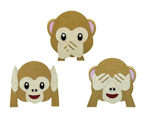 Finally Home DREI Affen Emoji Patch zum Aufbügeln | Smilie Smiley Emoticon Patches, Bügelflicken, Flicken, Aufnäher