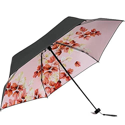 Ziayai Parasol completo con pegamento negro, 6 huesos, portátil, 5 descuentos, protector solar, protección contra el viento, protección UV, protección UV, compacto, hermoso patrón de flores