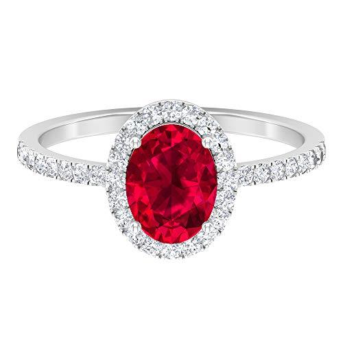 Anillo solitario de rubí creado en laboratorio de corte ovalado de 8 x 6 mm, anillo de halo de moissanita D-VSSI de 1,3 mm, 14K Oro blanco, ruby lab creado, Size:EU 52