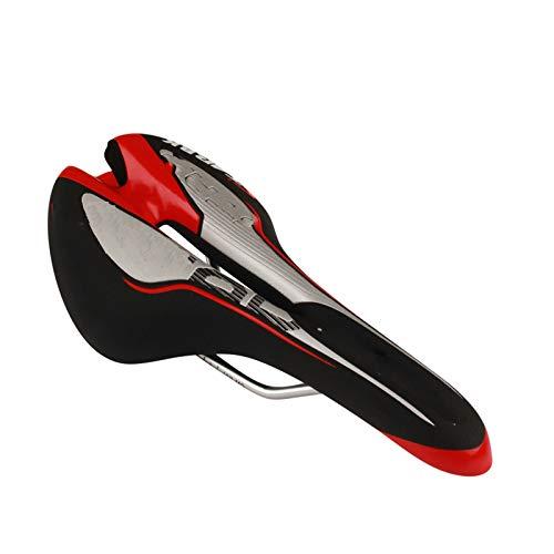 XBSJB Asiento De Bicicleta De Montaña Zona De Alivio Central Impermeable, Suave Y Transpirable Y Diseño Ergonómico Apto para Mujeres, Hombres, MTB, Bicicleta Estática, Bicicleta De Carretera,Rojo