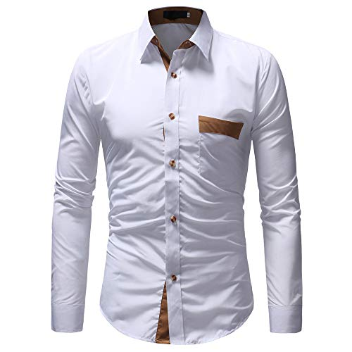 YJNH Men's Shirt Long-Sleeve Lapel Slim Fit Business Formal Work Wedding Party Button Shirt Spring, Autumn and Winter New Outdoor Casual Daily Wear Chest Pocket Streetwear 3XL