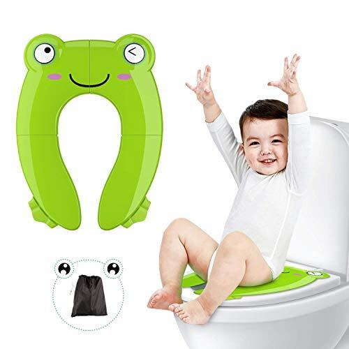 Reductor wc niños, Besfair Tapa plegable wc niños, Asiento de inodoro viaje, Orinal portátil bebés, con 4 Alfombras Antideslizantes, 2 Soportes Inferiores, Ideal para ir al baño. Verde
