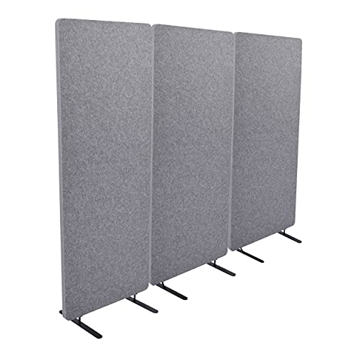 """ReFocus Raw Freestanding Acoustic Room Divider 3 Pack – Reduce Noise and Visual Distractions with This Lightweight Room Separator (Castle Gray, 24"""" X 62"""")"""