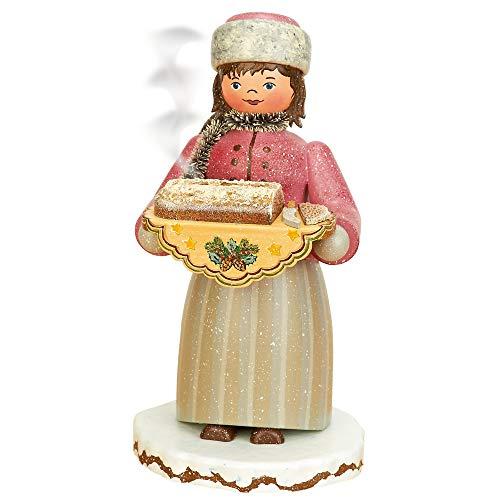 German Incense Smoker Winterchild Girl with stollen - 20cm / 8inch - Hubrig Volkskunst