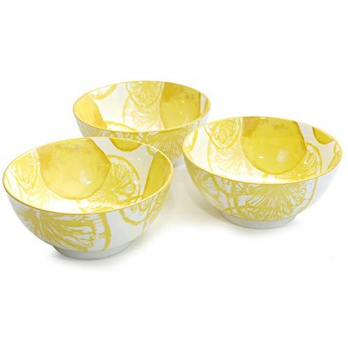 Werner Voss Müsli-Schale 3er-Set Lemon Weiß Gelb Porzellan Schale Reisschale Dessertschale Modern Design 14 cm