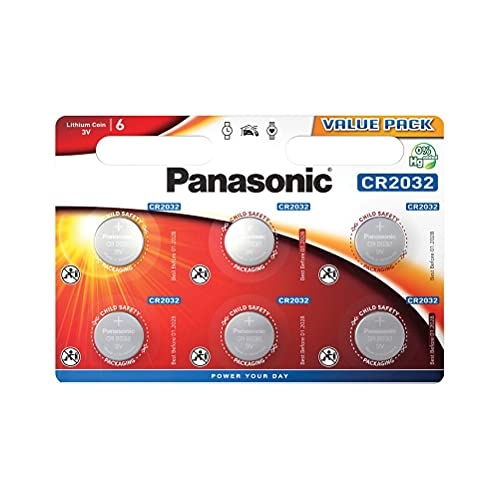 Corp. Panasonic CR2032 Pila botón de Litio 3V, 225mAh, Blister de 6