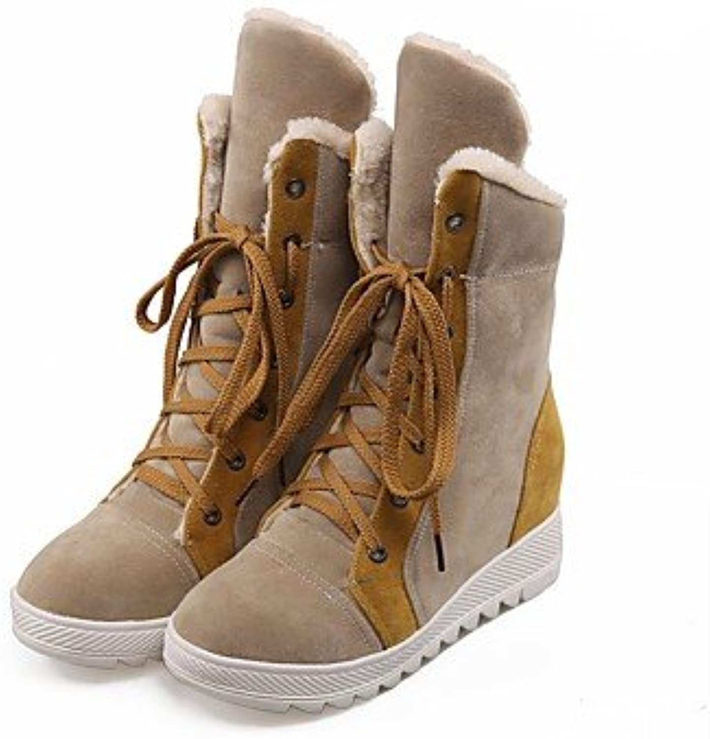 Women shoes Flocking Fall Winter Mary Jane Snow Flat Heel Round Toe Booties Ankle Lace-up for Casual Camel bluee Red