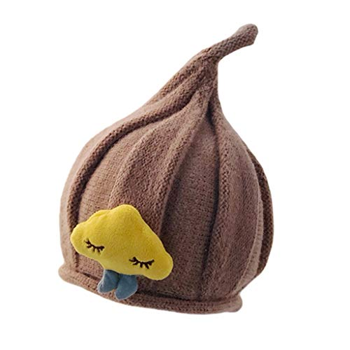LYTYM Caliente Suave de Punto Sombrero del bebé, niños elástico Sombreros cúpula de Cebolla Elf Sombrero de Fieltro Gorra de Esquiar (Color : Brown, Size : 1-4 Years)
