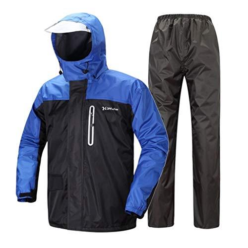 De regenjas van volwassenen mannen (regenjas + regenbroek) met zachte voering/reflecterende band voor de veiligheid, geschikt voor motorfiets-golf-vissen, met capuchon en andere activiteiten. XXXl