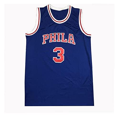 LIPENG NBA Jersey Mitchell Ness Allen Iverson # 3 Filadelfia 76ers Black Mesh Swingman Basketball Jersey Swingman Vintage Malla Bordada Jersey (Color : Vintage Blue, Size : L)
