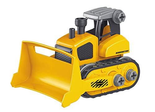 Mondo Motors-Construction Truck montable 15 cm con Destornillador Incluido-Camión de Juguete Juego 4 en 1 Regalo para niños 3,4,5,6 años-51177, Color Amarillo/Gris 51177