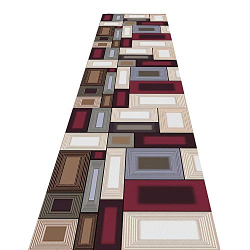 MYL Extra Long Non Slip Runner Rug for Hallway, Contemporary Patchwork Squares Entrance Corridor Bedroom Carpets - 60cm/80cm/100cm/120cm/140cm Wide (Size : 140×600cm(4.6×16.4ft))