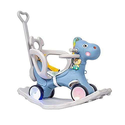 HQXH Kinder Plastik Schaukelpferd Schaukelwiege Trojaner Schaukelstuhl Kinderwagen Baby Geburtstagsgeschenk Mit Blinkenden Rädern 1-8 Jahre Alt,Blau