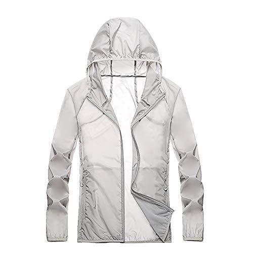 Sonnenschutz Kleidung Herren und Damen Ultra Dünn und Atmungsaktiv Mantel Outdoor Angeln Gr. XXXX-Large, Grau 1
