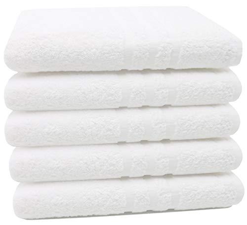 ZOLLNER 5 Toallas de baño Grandes 100% algodón, 100x150 cm, Blancas