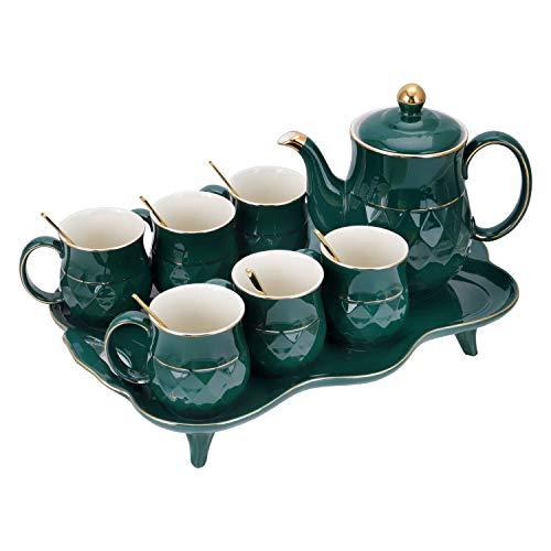 fanquare 8 Pezzi Servizio da tè in Porcellana Inglesi, Set da tè in Ceramica Verde, Una Teiera, Set di 6 Tazzine da caffè con Vassoio