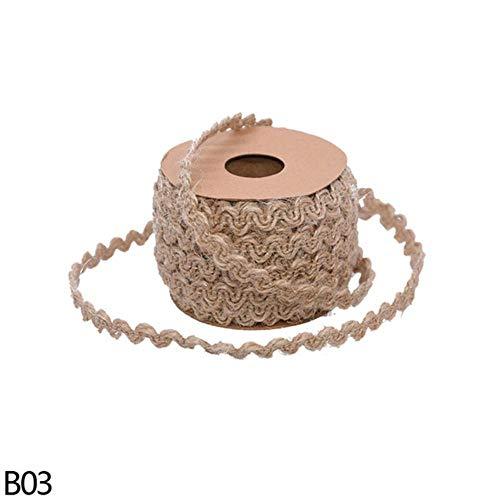 LLAAIT 5Meter Jute jute touw vlecht hennep kant geschenkverpakking linten DIY handgemaakte ambacht vintage rustieke bruiloft partij decor B03