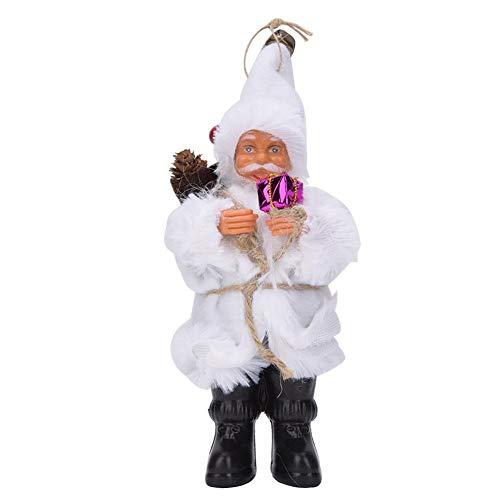 Decorazioni per Bambole di Babbo Natale in Peluche di Natale, Albero di Natale Festival Casa per Vacanze Decorazioni Tradizionali Ornamenti Giocattoli Statuetta in Piedi Regalo per Bambini(Bianca)