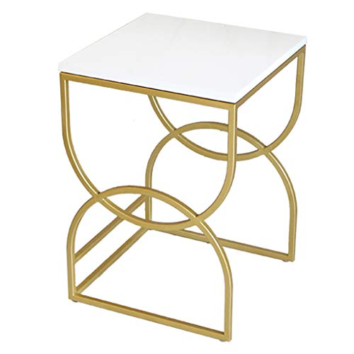White Pine Wood Top Set of 2 Nesting Tables with Gold Metal Frame Coffee/Side/Sofa/End/Center Tables for Living Room