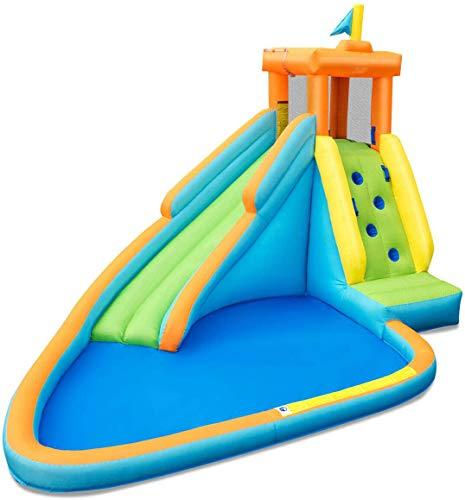 ZXL Toboggan Gonflable, châteaux gonflables pour Enfants, Maison de Rebond pour Enfants avec Toboggan Long, Mur d'escalade, pataugeoire