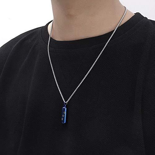 GenericBrands Anhänger Halskette Edelstahl Pet Paw Anhänger Halskette Feuerbestattung Welpe Tierzubehör Halskette für Asche-Blau