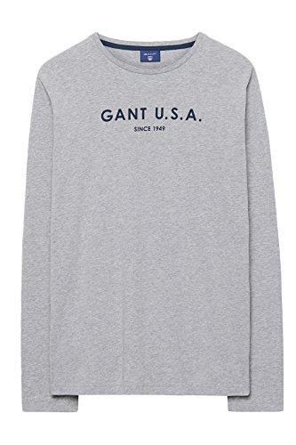 Gant Men's GANT USA Long Sleeve T-Shirt (254324), Medium, Grey Melange